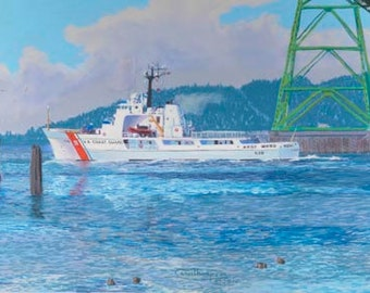 Alert At The Bridge Paper and Canvas Giclee Print Coast Guard Cutter Astoria Bridge Oregon Columbia River by Carol Thompson