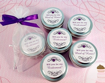 Will you be my Bridesmaid Wedding Candle Favor- All Natural Soy Wax- Great for Bridal Showers Too