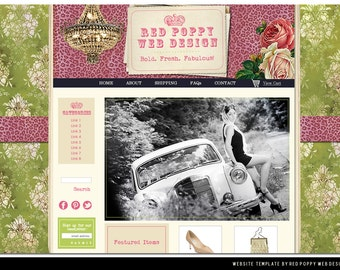 Premade Boutique Website Template, Green Pink Vintage Leopard Elegant Web Design, Web Site Template, VintageChic!