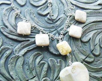 Banded Agate Heart Gemstone Choker with Coral Fossil Squares -White Hot Love- White, Cream, Pale Yellow on Silver-REDUCED PRICE