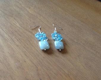 Blue on Blue Drop Topaz Earrings