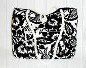 READY TO SHIP -- Large Pleated Black & Ivory Shoulder Tote