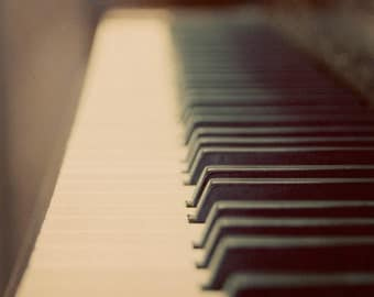 Piano Photograph black and white vintage style dark keys ivory ebony music instrument keyboard