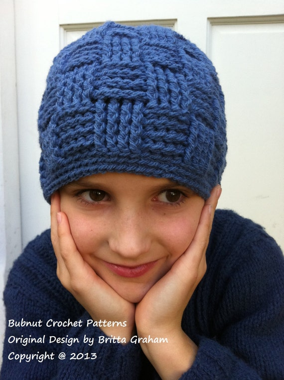 Basket Weave Hat Pattern Free : Boys basketweave beanie crochet pattern no digital