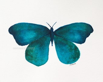 "teal butterfly watercolor archival print of original watercolor 8"" x 10"""
