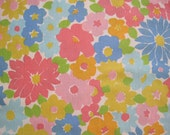Vintage Sheet Fabric Fat Quarter – Floral Pink Blue Yellow Green Mod Flowers Daisies
