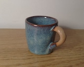 Stoneware Espresso Cup Blue Rutile part glazed handle PRE ORDER