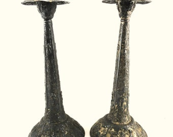 Antique Pair Dutch Revival Metal Candlesticks// Vintage Metal Candle Holders// Home Decor