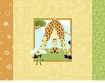 "ZOE the GIRAFFE ~ 100% Cotton Fabric ~ Pillow PANEL ~ 15"" x 44"" by Susybee ~ 3 Different Giraffe Designs per Panel"