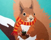 Red Squirrel Christmas Cards set of 4
