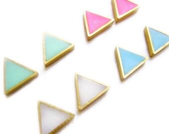 Minimalist Triangle Stud Earrings, Geometric Minimal Earrings, Bright Color Studs