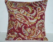 Throw Pillow Decorative Pillow Accent Pillow Cushion Covers Red Blue Beige Green Paisley 16 x 16