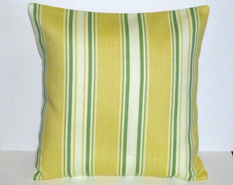 Throw Pillow Decorative Pillow Accent Pillow Cushion Covers Yellow Green Cream Stripes Indoor/Outdoor 16 x 16