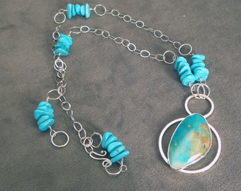 Turquoise and sterling silver necklace - Pendant necklace - Handmade