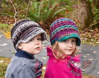 Crochet hat pattern, quicky Newsboy hat pattern, bulky crochet hat pattern, Permission to sell, newborn, infant, mens newsboy hat, easy