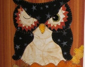 Halloween Owl Applique PDF Pattern for Tea Towel