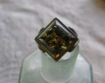 Vintage sterling silver and faux green amber ring