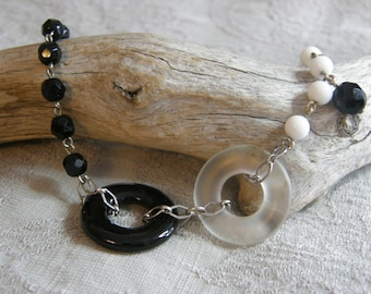 Artisan made assemblage bracelet - black and white vintage findings