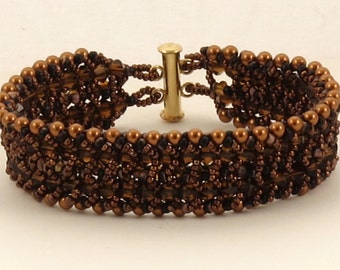 Copper Pearl and Smoked Topaz Crystal Woven Bracelet - 7.25 inches