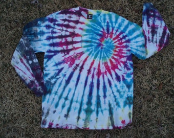 Long Sleeve - Tshirt - Tie Dye - Hanes BeefyT - Adult Large - Hippie Clothing - Valentines Day - Gift
