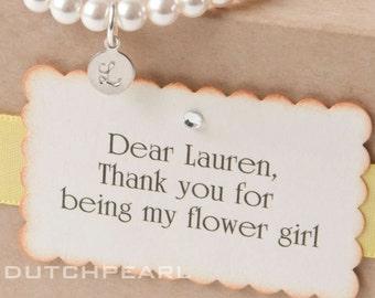 FLOWERGIRL - Personalized  kids jewelry bracelet with monogram  - baby girl pearl bracelet - flower girl junior bridesmaid