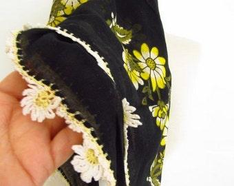 Black scarf - SQUARE scarf  Turkish Yemeni OYA Scarf Black scarves