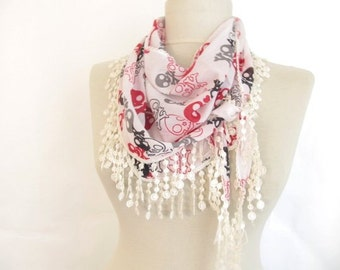 White  scarves - skull scarves ..%100 Cotton -fall -black friday