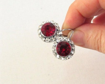 Vintage red earring  ,antique crystal rhinestone earrings