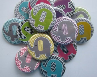 "Lot of  15 1"" or 1.25"" chevron elephant flatback buttons"