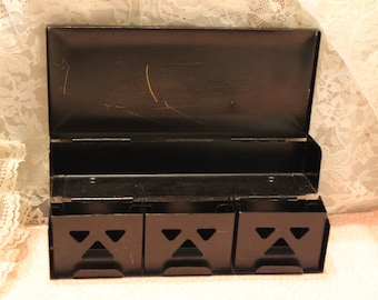 Rare Metal Cigarette Box / Case with Three hinged Sections / Compartment for 3 cigarette packs Tole Painted Flowers