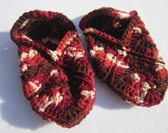 Crochet Granny Square Slippers Size Small to Medium, Shades of Brown and Maroon Womens Slippers, House Shoes
