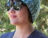 Crocheted Chunky Yarn in Shaded Sky Blue Beanie