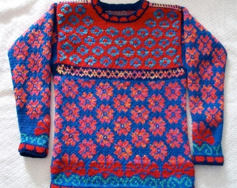 Knitting Pattern: Flowers Size Nine Years