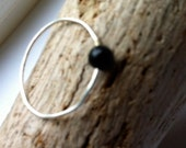 Black Tourmaline Ring, Sterling Silver, Knuckle Ring, Toe Ring, Petite Ring, Bohemian Chic, Size 3 1/2