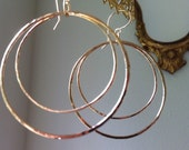 Gold Hoop Earrings, Graduated Double Hoops in 14 KT Gold Filled, Hand Made Hammered Hoops, 2 Inch Length