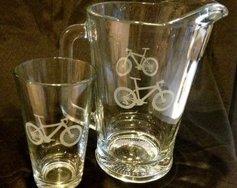 Mountain Bike Beer Pitcher And Pint Glasses