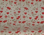 Vintage Hallmark Gift Wrapping Wrap Paper 2 Yards YDS Gold Roses Flower Hearts Love