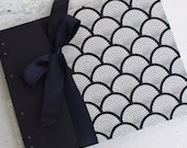 Wedding Guest Book, Black Pages Guest Book, Art Deco Black and Ivory {MADE UPON ORDER}