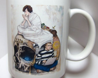BBC Sherlock and Watson and skull 11oz mug