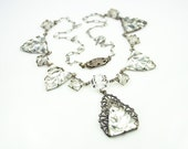 Art Deco Necklace Clear Vauxhall Glass Silver Filigree Antique Jewelry