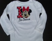 Custom Appliqued TRADITIONAL MOUSE  Shirt or One Piece...sizes newborn,3,6,9,12,18,24 month,2T,3T,4T,5T,6 years... birthday, party