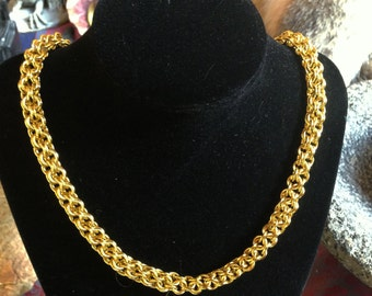 Inverted Round Chainmaille Necklace in Brass