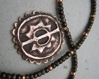 Artifact Inspired Maya Copper Pendant on Beaded Cord