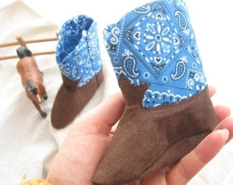 Blue or Green Handkerchief Baby Cowboy Boots A Soft Soled Baby Shoe