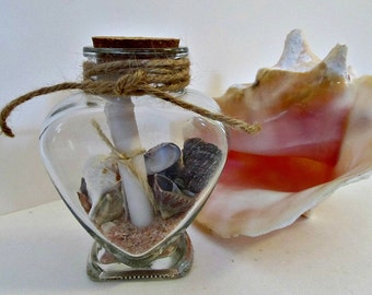 Message In A Bottle - Heart - Valentine's Day Love Notes Nautical Rustic Cottage Chic Beach Decor