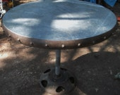 Antique Riveted Iron  Farm  implement wheel  W/  Galvanized Top Re-purposed Table , chocie of two heights  ( 20 % DISCOUNTED APPLIED )