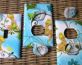 Tinkerbell Set Green Blue or Purple Light Switch Plate Toggle Cover 2 Outlets Set includes child safety plugs