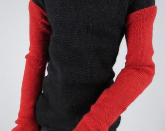 Long Sleeve Black and Red Knit Shirt for MSD Ball Jointed Doll In Stock