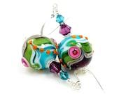 Colorful Earrings, Lampwork Earrings, Glass Earrings, Abstract Earrings, Beadwork Earrings, Unique Earrings, Modern earrings, Glass Art