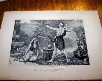 1897 J. L. G. FERRIS PINX lithograph depicting Jerushid Draws the bow